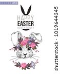 easter greeting card with... | Shutterstock .eps vector #1019644345