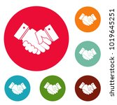 hand peace icons circle set... | Shutterstock .eps vector #1019645251