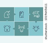 animal icon set and bull with...