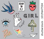 set of fashion trendy patches...   Shutterstock .eps vector #1019647534