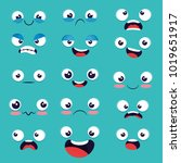 set of emoji emoticon cartoon  | Shutterstock .eps vector #1019651917