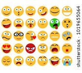large set of vector smiles ... | Shutterstock .eps vector #1019655064