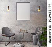 mockup poster in the interior ... | Shutterstock . vector #1019655499