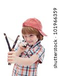 Mischievous kid aiming with sling - isolated - stock photo