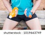 bottle of energy drink and... | Shutterstock . vector #1019663749