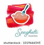 spaghetti italian pasta... | Shutterstock .eps vector #1019666545