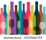 wine background vector.bottle... | Shutterstock .eps vector #1019666755