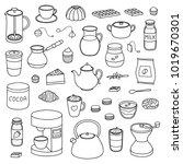 set of hand drawn outline... | Shutterstock .eps vector #1019670301