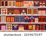 confectionery sweets at stall... | Shutterstock .eps vector #1019675197