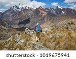 hiking scene in cordillera... | Shutterstock . vector #1019675941