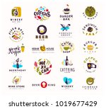 collection of vector flat food... | Shutterstock .eps vector #1019677429