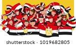 soccer fans cheering | Shutterstock .eps vector #1019682805