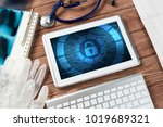 doctors workplace with white...   Shutterstock . vector #1019689321