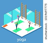 class yoga and pilates  people... | Shutterstock .eps vector #1019697775