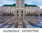 view of hassan ii mosque in a... | Shutterstock . vector #1019697964