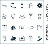 travel icons set with swim suit ... | Shutterstock .eps vector #1019701447