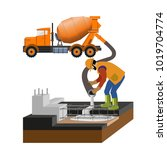 worker at building site are... | Shutterstock .eps vector #1019704774