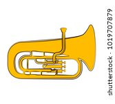 isolated tuba sketch. musical... | Shutterstock .eps vector #1019707879