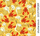 seamless pattern with beer ...   Shutterstock .eps vector #1019709289