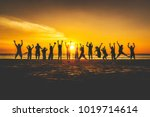 summer lifestyle group of... | Shutterstock . vector #1019714614