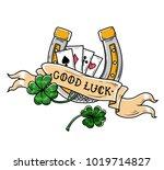 tattoo horseshoe  four leaf... | Shutterstock .eps vector #1019714827