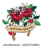 tattoo two red roses with... | Shutterstock .eps vector #1019714851