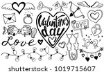 valentine's day hand drawn... | Shutterstock .eps vector #1019715607