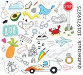 hand drawn doodles set | Shutterstock .eps vector #1019719375