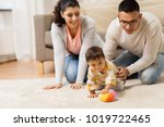 family  parenthood and people... | Shutterstock . vector #1019722465