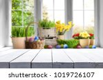table background and easter... | Shutterstock . vector #1019726107
