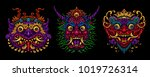 indonesian bali mask set.... | Shutterstock .eps vector #1019726314