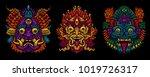 indonesian bali mask set.... | Shutterstock .eps vector #1019726317