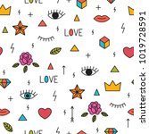 doodle seamless pattern with... | Shutterstock .eps vector #1019728591