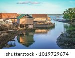 Small Wooden Bamboo Huts On Th...