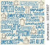doodles coffee icons and words   Shutterstock .eps vector #101973007