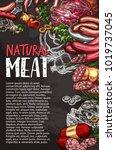 natural meat product blackboard ... | Shutterstock .eps vector #1019737045
