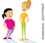 fat and slim woman cartoon flat ... | Shutterstock .eps vector #1019744629