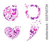 beautiful pink butterflies ... | Shutterstock .eps vector #1019765734