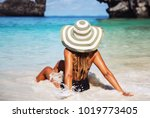 summer lifestyle portrait of... | Shutterstock . vector #1019773405