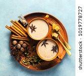 masala tea chai latte... | Shutterstock . vector #1019778727