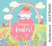 easter bunnies and easter egg | Shutterstock .eps vector #1019784334