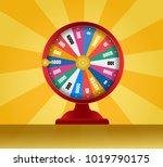 spinning fortune wheel  lucky... | Shutterstock .eps vector #1019790175