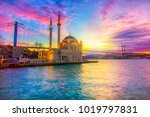 Ortakoy Istanbul landscape beautiful sunrise with clouds Ortakoy Mosque and Bosphorus Bridge, Istanbul Turkey. Best touristic destination of Istanbul.
