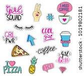 set of funny feminine stickers. ... | Shutterstock .eps vector #1019802181