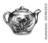 sketch hand drawn teapot.... | Shutterstock . vector #1019813515