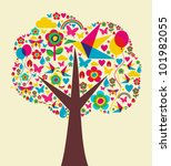 Happy spring time tree composition background. Vector file available. - stock vector