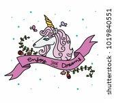 cute unicorn cartoon and enjoy...   Shutterstock .eps vector #1019840551