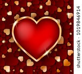 amazing golden heart frame with ... | Shutterstock .eps vector #1019846914