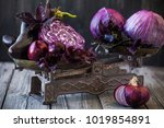 purple cabbage on a vintage... | Shutterstock . vector #1019854891