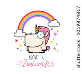 card with unicorn character.... | Shutterstock .eps vector #1019874817